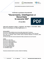 PROGRAM Conferinta Internationala - Guvernanta, Intelligence si Securitate. UBB Cluj 27 Mai 2011