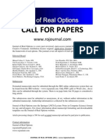 Journal of Real Options Call for Papers 2011