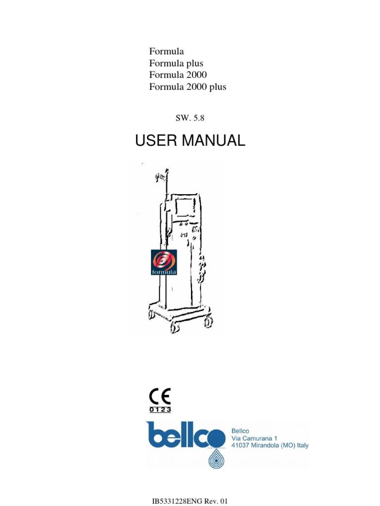 belco formula user manual dialysis hemodialysis rh scribd com Dialysis Machine Portable Dialysis Machine Portable