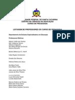 Pedagogia UFSC Listagem Professores EED MEN
