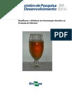 Eficiencia na fermentação de hidromel