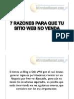 7 Razones Para Que Tu Sitio Web No Venda