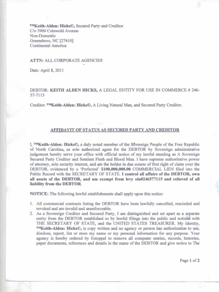 Affidavit Of Secured Party Creditor Business Law Government Information