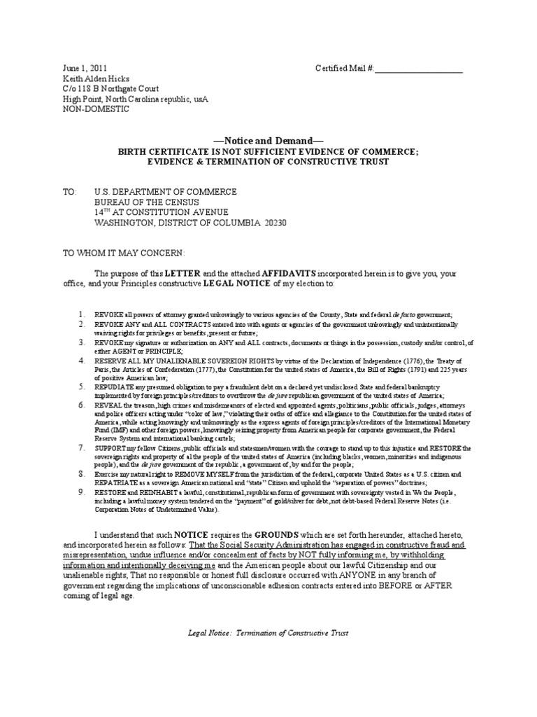 Legal Notice Termination Of Constructive Trust Birth Certificate