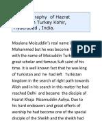BRIEF BIOGRAPHY OF HAZRAT MOIZUDDIN TURKEY