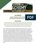Mauro Picotto Alchemy Festival FINAL LINE UP