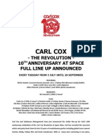 10 Years Carl Cox at Space Ibiza FULL LINE and DATES