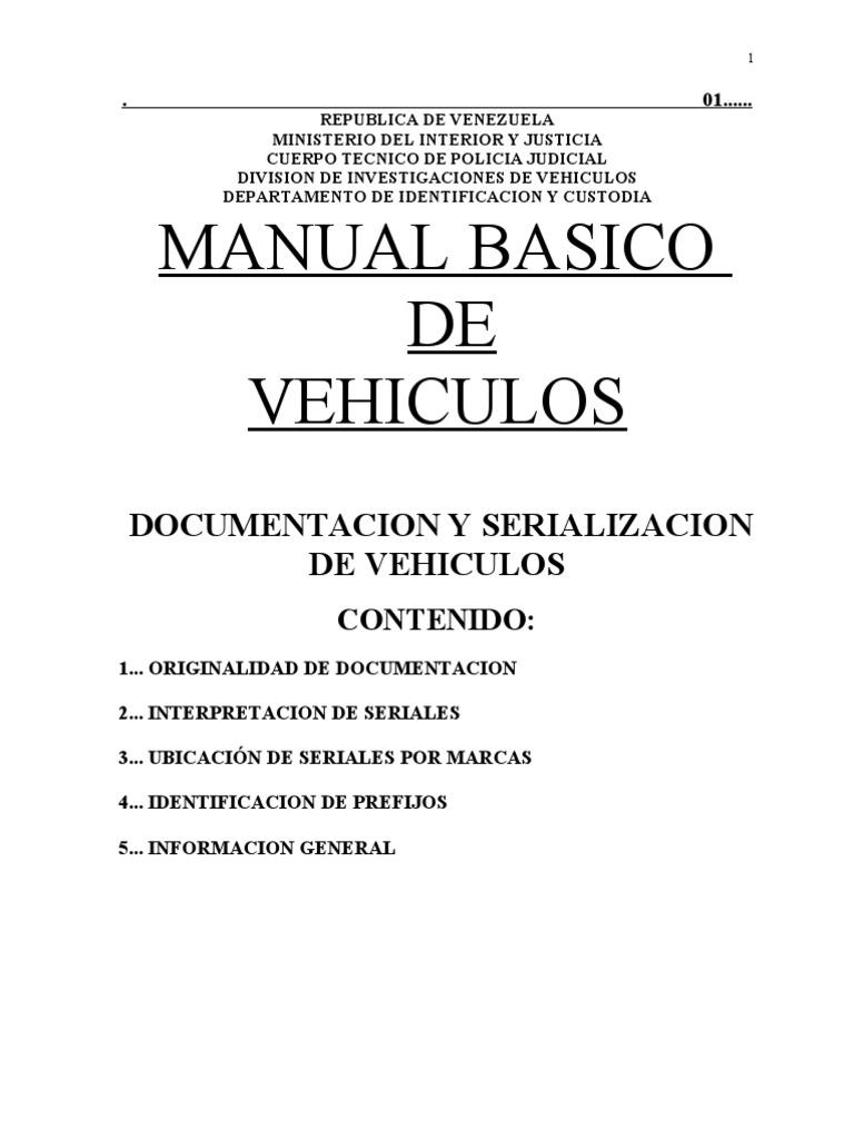 Manual de vehiculo for Donde queda el ministerio de interior y justicia