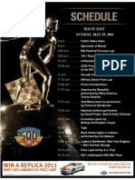 2011 Indi 500 Race Day Schedule