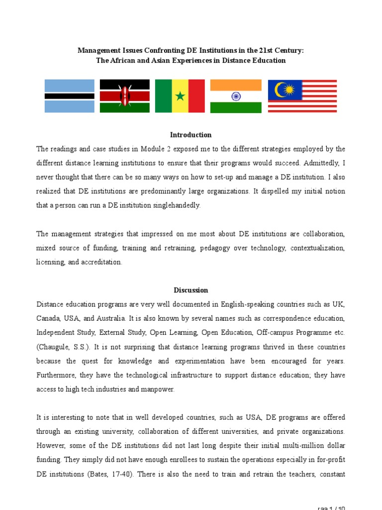 Distance learning thesis proposal