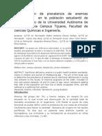 Determinacion de Anemias en Poblacion Estudiantil