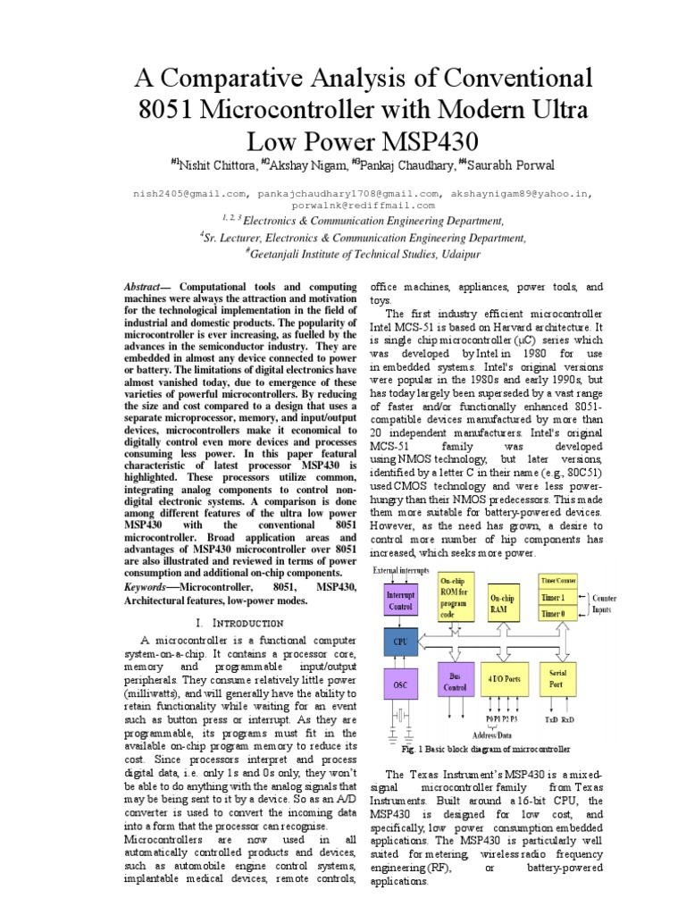 A Comparative Analysis Of Conventional 8051 Micro Controller With Microcontroller Ultrasonic Rangefinder Using Circuit Diagram Modern Ultra Low Power Msp430 1 Ppr Central Processing Unit