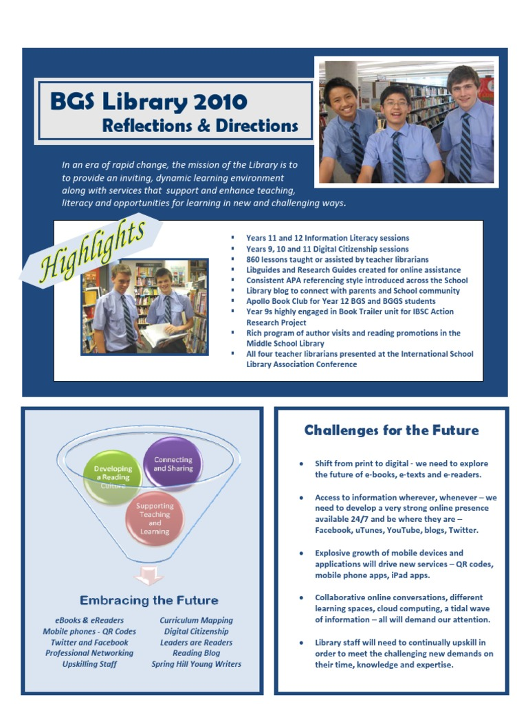 BGS Library 2010 Reflections and Directions | Information