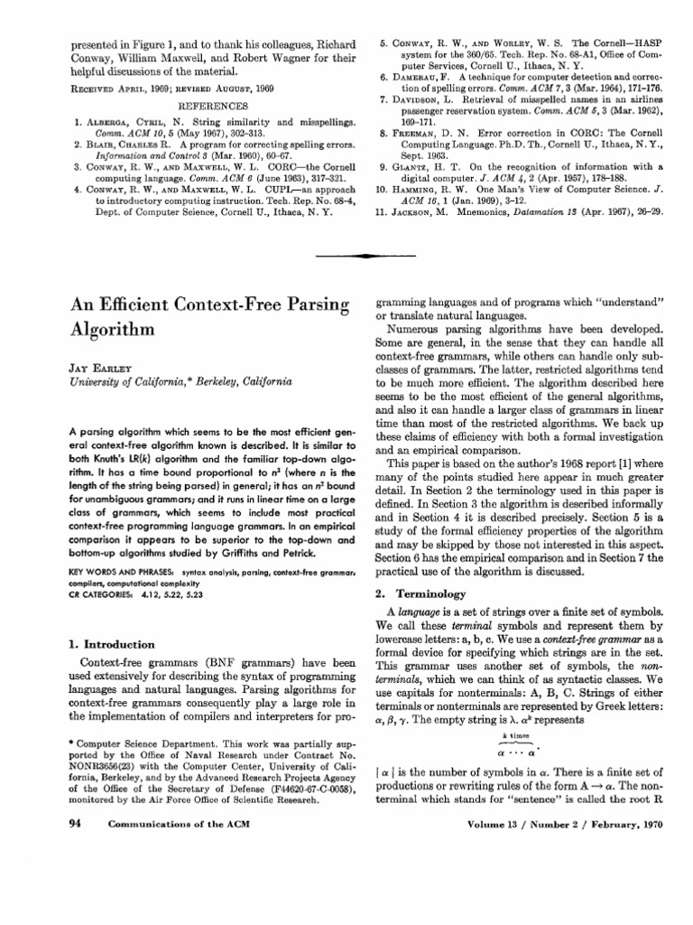 research paper on context free grammar