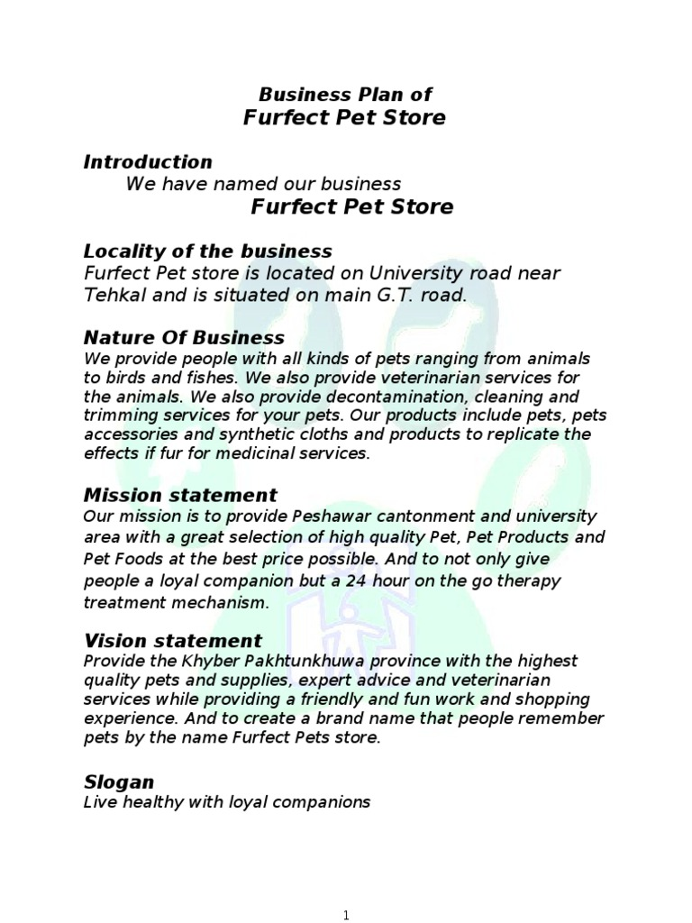 pet store business plan