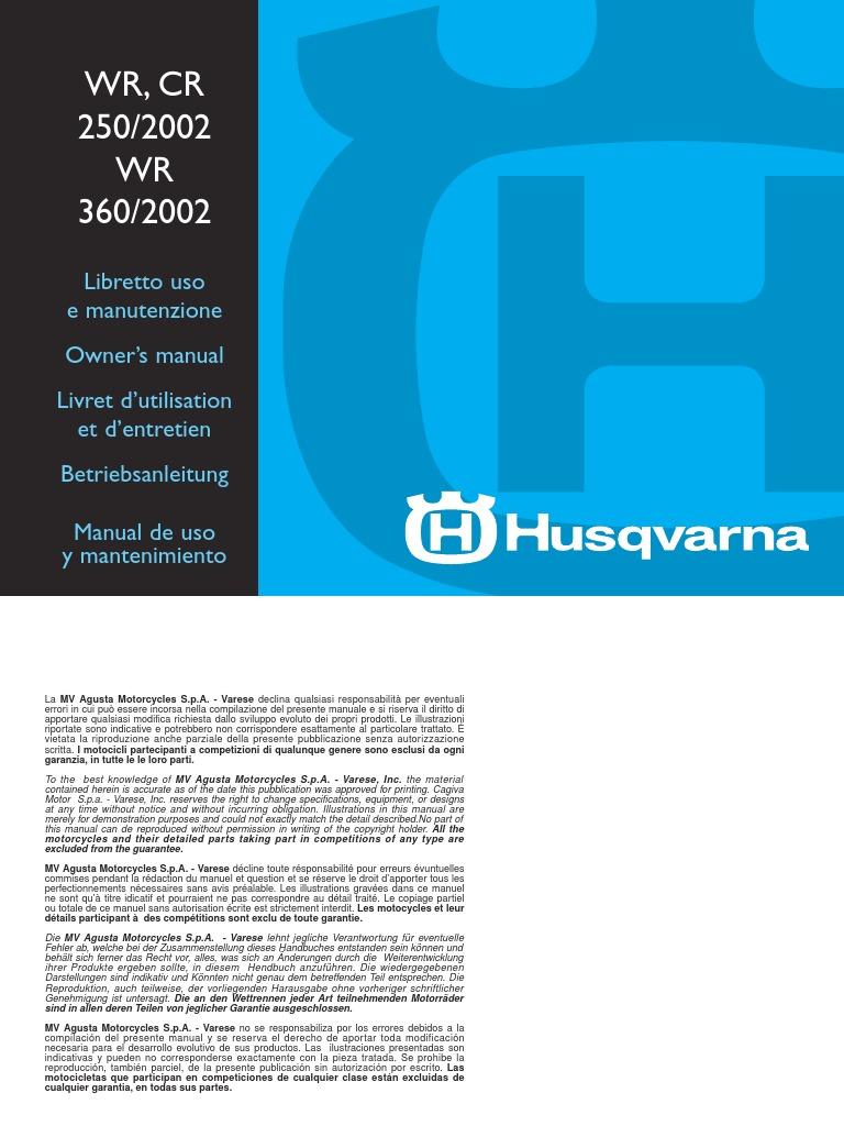 husqvarna wr250 wr360 cr250 complete workshop repair manual 2001 2002 2003