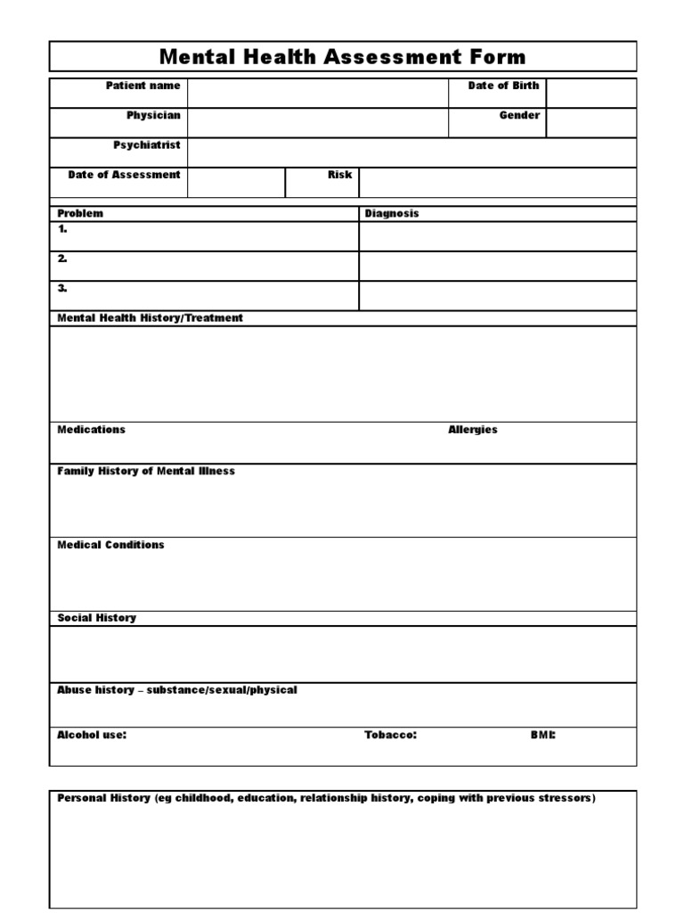 Mental Health Assessment Form Template | Mental Disorder ...