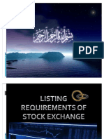 Listing Requirnment for Pakistan's Stock Exchange
