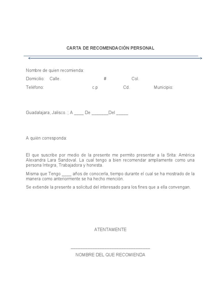 formato carta de recomendacion personales