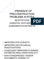 Experience of Pre Construction Problems in Rites