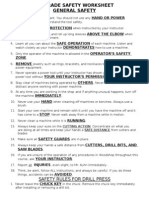 7th Grade Woodshop Safety Rules Worksheet