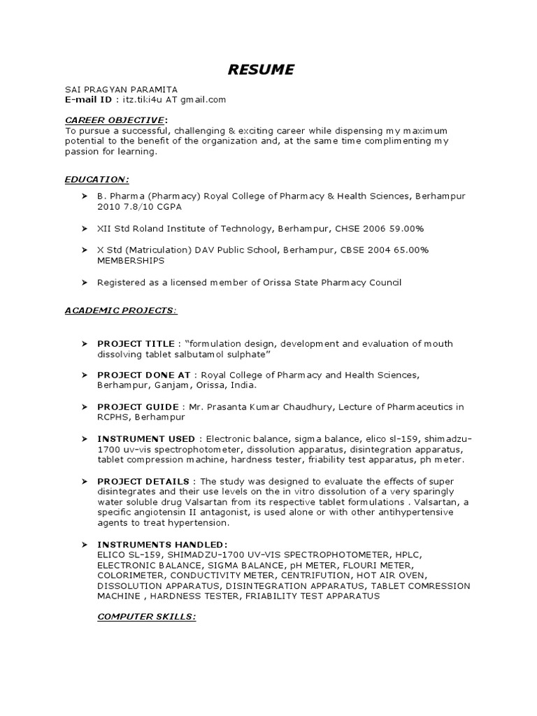 B-pharm Fresher Resume