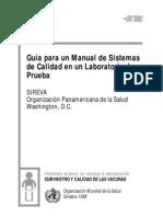 Guía para un Manual de Sistemas de Calidad  en un Laboratorio de Prueba