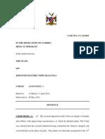 The State v Johannes Haufiku Sentence. CC 21 - 2010. Lie Ben Berg, J. 26 May 2011