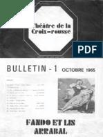 ARRABAL, Fernando • Fando et Lis. Théâtre de la Croix Rousse (Lyon). Bulletin 1 octobre 1965)