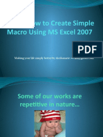 How to Create Simple Macro Using Excel 2007