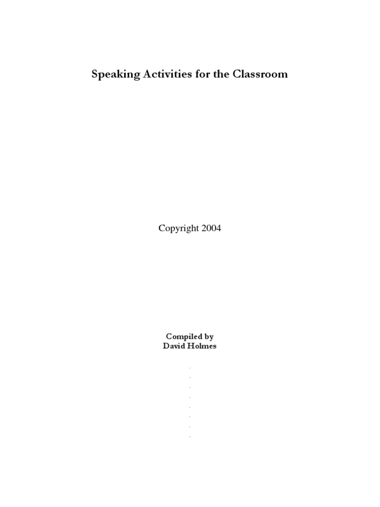 5202bf756e54dd Apeaking Activities | Question | Teachers