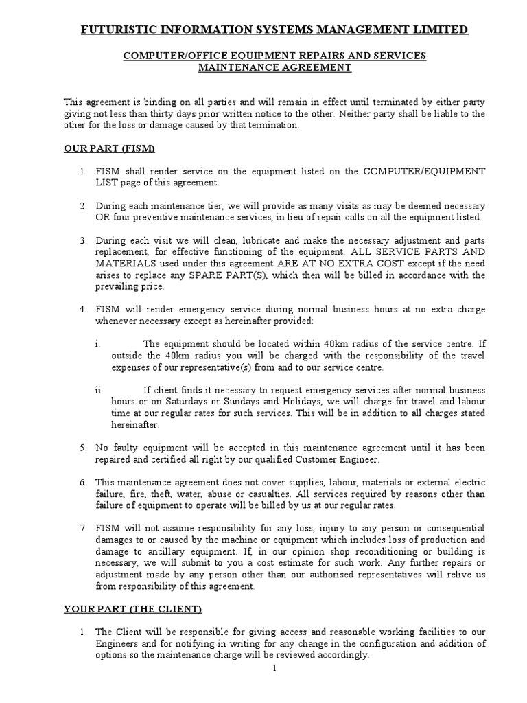 Maintenance Agreement   Sample | Maintenance | Technology