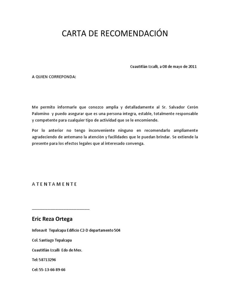 Carta De Recomendaci 211 N Formato