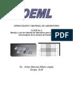 Manejo y uso de material de laboratorio para la observación microscópica de la cámara de Neubauer.