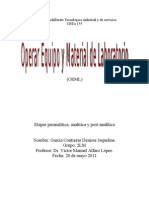 Etapas preanalitica, analitica y postanalitica