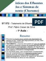 Características dos Efluentes Líquidos e Sistemas de Tratame