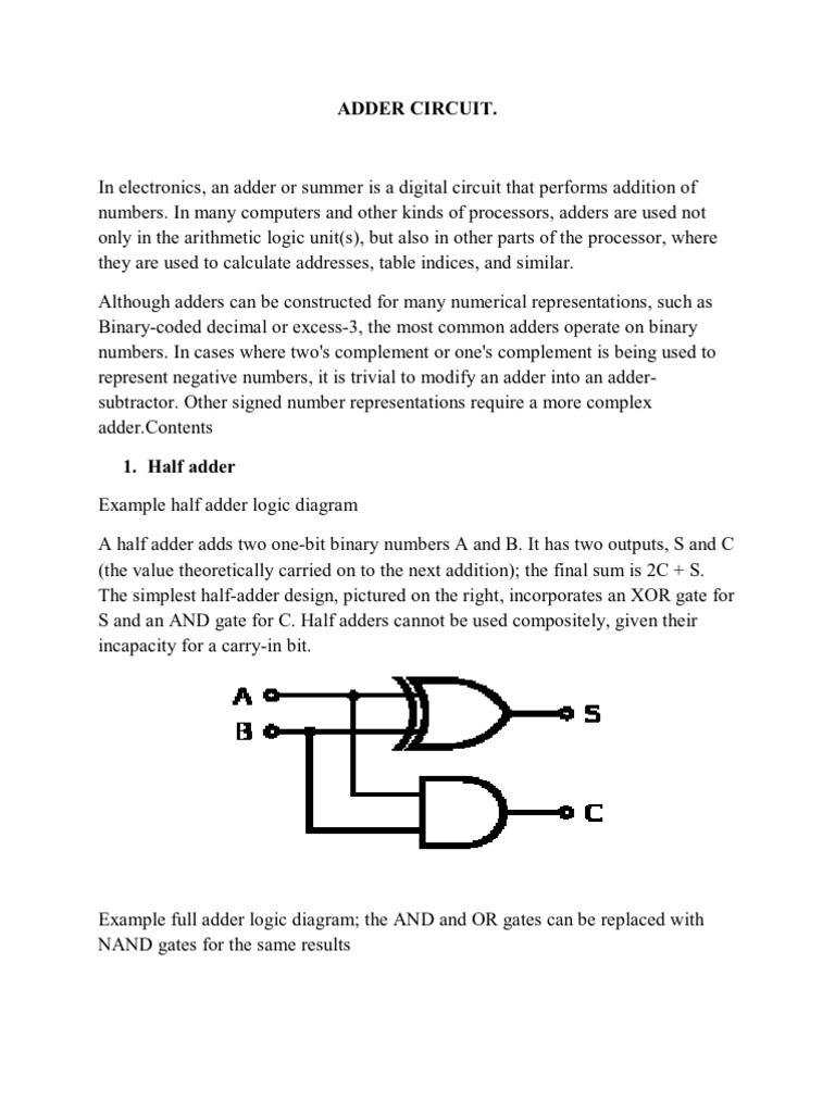 Adder Circuit Operational Amplifier Electronics Digital Logic Design Full