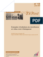 Évaluation d'institutions de microfinance en milieu rural à Madagascar (AFD/2008)