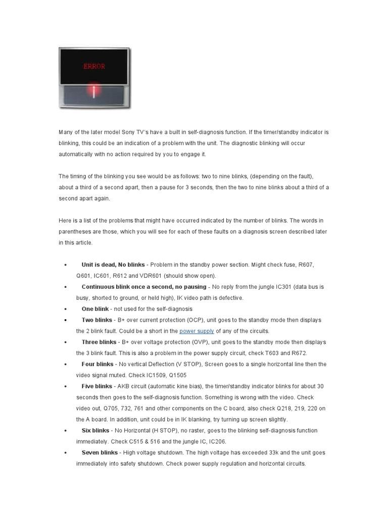 Sony Led Blinking Codes