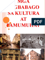 Mga Pagbabago Sa Kultura at Pamumuhay