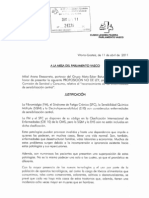 PARLAMENTO VASCO (ESPAÑA). Proposición no de Ley, original sin enmiendas, sobre SQM-SFC-FM-EHS (11 abril 2011)