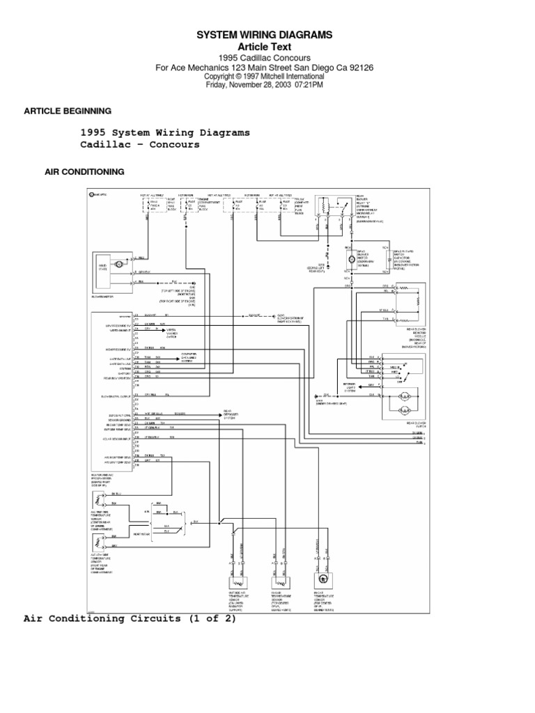 System Wiring Diagrams Article Text  1995 Cadillac