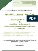 Manual da Reclamação das listas provisórias - Candidatos a Contratação e DCE