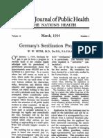 American Journal of Public Health Supports Nazi Sterilization 1934
