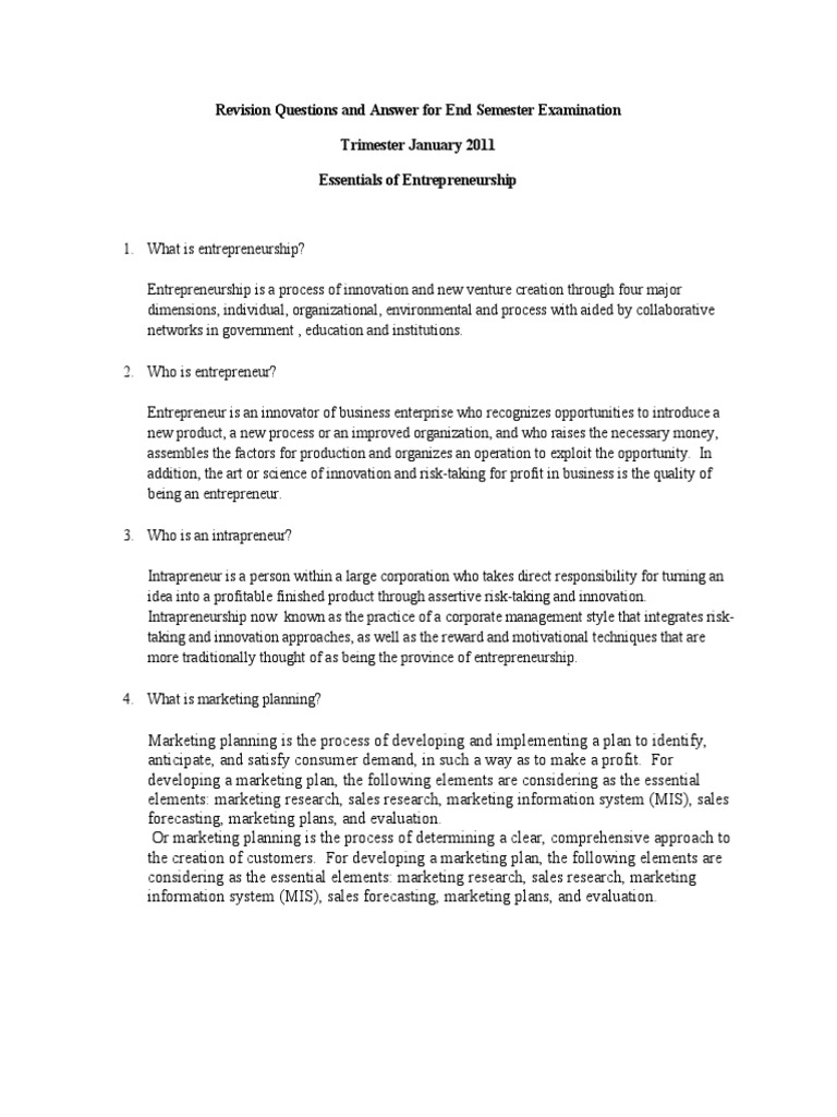 revision questions and answer for end semester examination revision questions and answer for end semester examination entrepreneurship entrepreneurship
