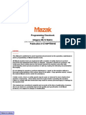 Mazak Programing Class Book | Transformer | Switch