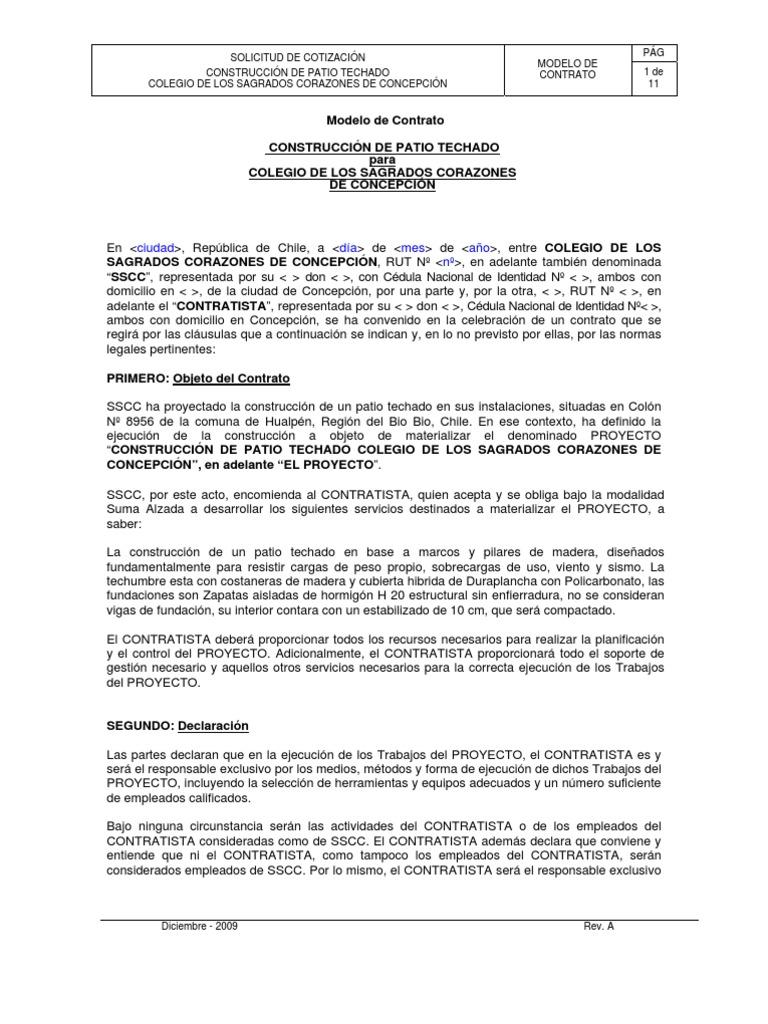Famoso Plantilla De Contrato De Contratistas Generales Fotos ...