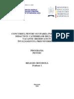 Religie Ortodoxa Programa Titularizare 2010 Profesor-6672
