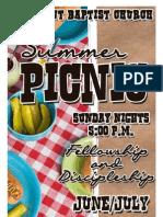 Summer Picnic Schedule
