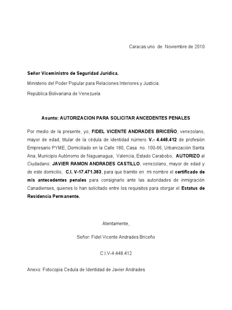 Carta de autorizacion para tramitar antecedentes penales for Ministerio de relaciones interiores